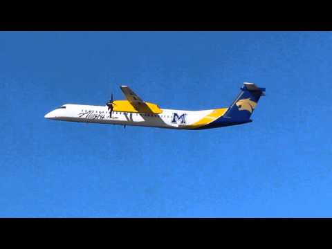 Alaska Airlines Bombardier Q400 With The Montana State University Paint Job Takes Off From PDX On Ru