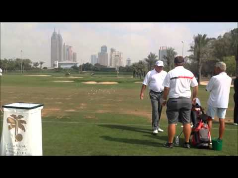 Mark O Meara swing on the range at the 25th Omega Dubai Desert Classic 2014