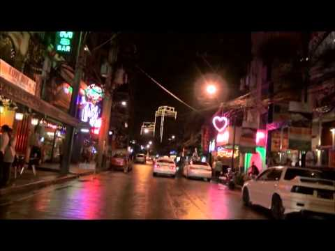 Burgos street at night Makati city Philippines Dec 26 2012 and a swindler Filipino taxi driver.wmv
