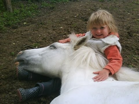 3 years old girl riding pony, Rider: Cecilia, 3 years old Horse: Karin, 9 years old Trainer: Victoria, 14 years old http://www.facebook.com/pages/Viky-Kocourkov%C3%A1/238551078658