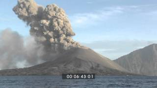 Anak Krakatau Volcanic Eruption - Wide Angle and Volcanic Ash Stock Footage 1920x1080 HD