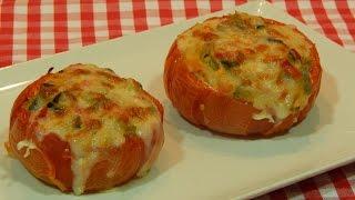 Tomates al horno rellenos de verduras