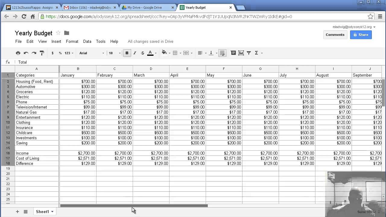 Making a yearly budget with Google Spreadsheet - YouTube