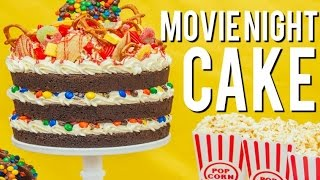 How To Make A MOVIE NIGHT CAKE! Root beer chocolate cake, vanilla buttercream, M&Ms and popcorn!