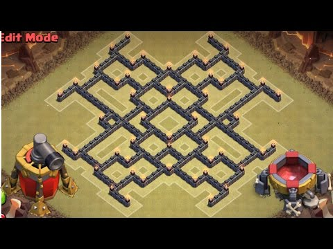 Clash Of Clans | EPIC Town Hall 9 (TH9) War Base! Anti 3 Star Defense Strategy!