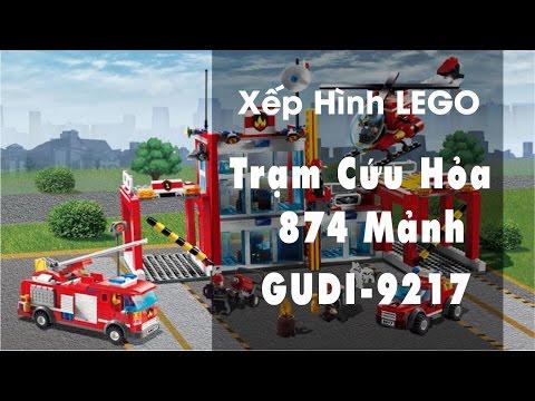 Đồ chơi LEGO Trạm Cứu Hỏa Gudi 9217-Asun unboxing Gudi Lego 9217