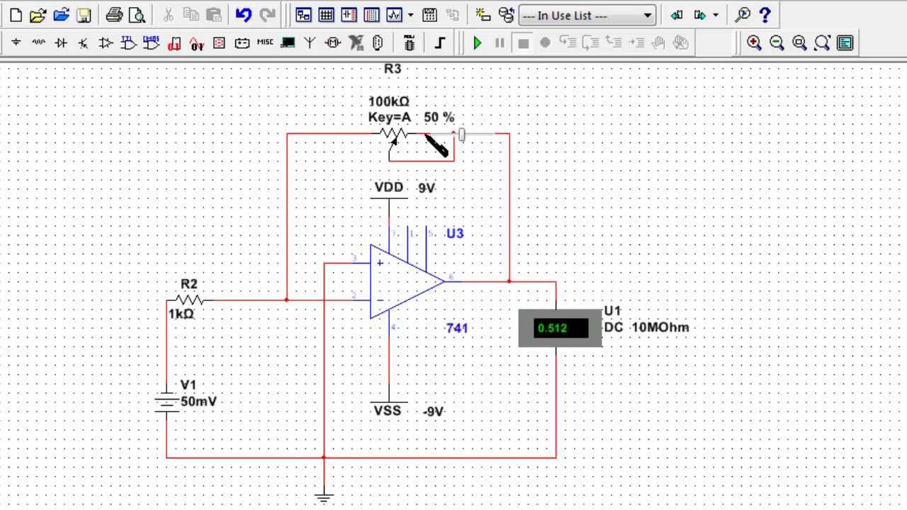opamp circuit design 1  design and multisim simulation of an inverting opamp