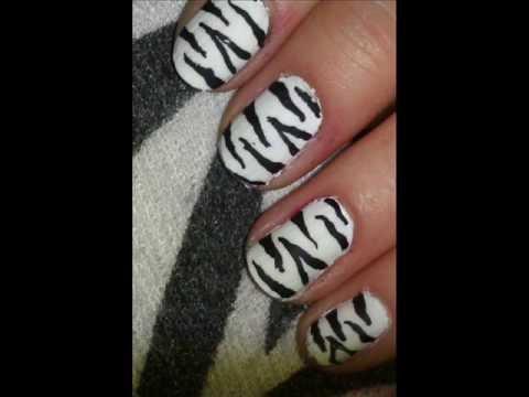 Easy Zebra / white tiger print nail art tutorial! for beginners.