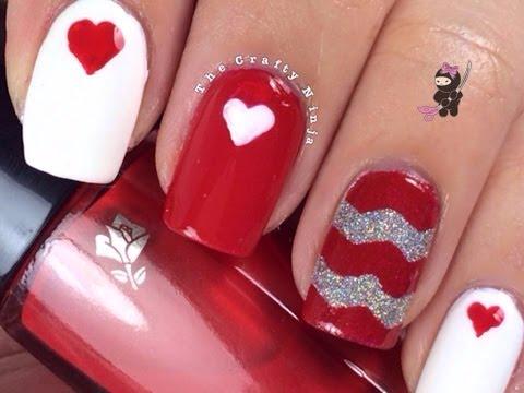 Chevron Heart Nails