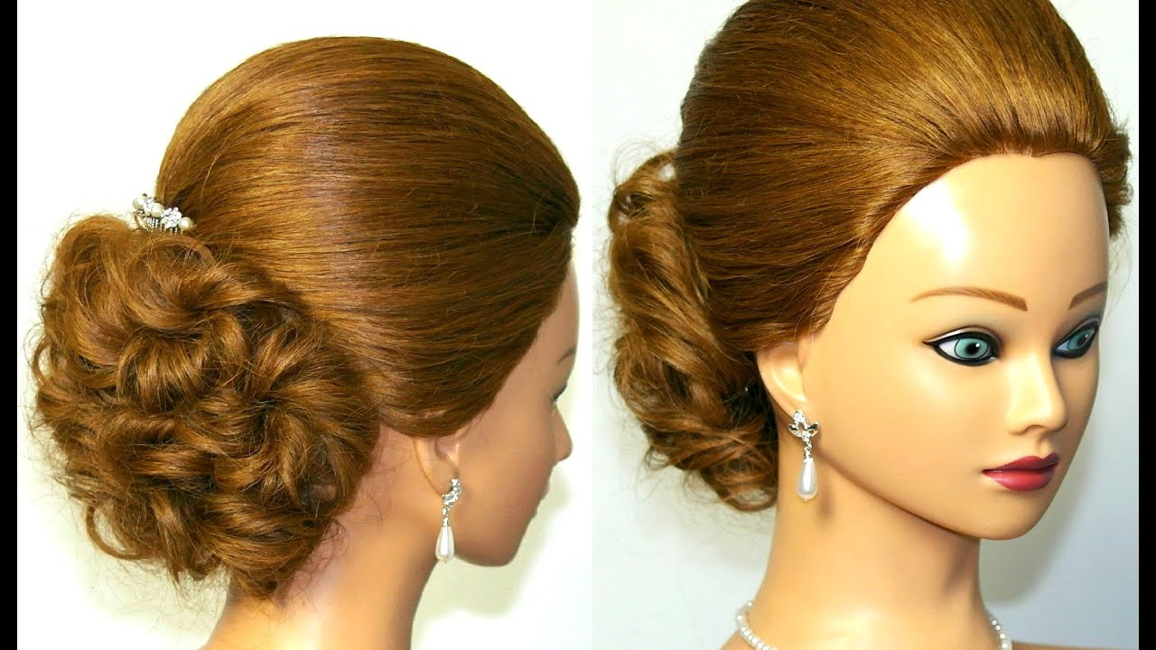 Prom, bridal updo. Hairstyles for medium long hair. Вечерняя