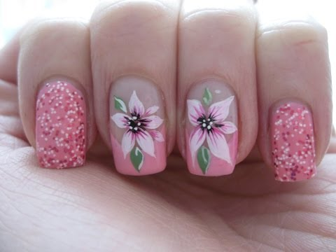 Nail art: Pink french with beautiful flower