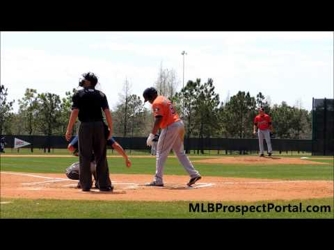 Astros 1B Jonathan Singleton vs  Braves RHP Cory Rasmus   Minor League Spring Training 2013   fly ou
