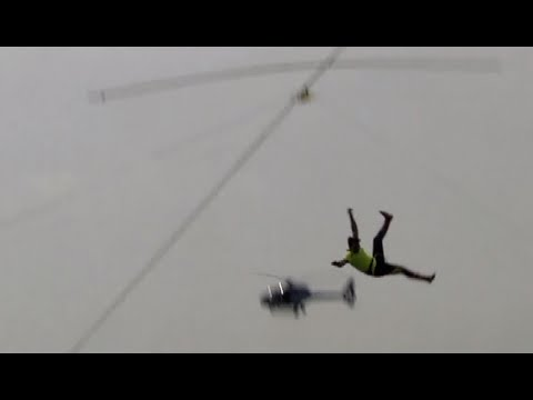 This is what happens when you fall during tightrope walking competition