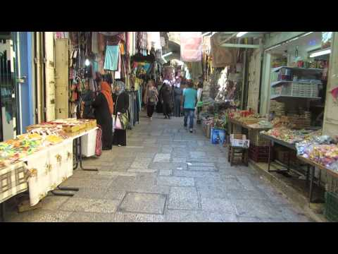 The road to Damascus Gate within the Arab market of the Muslim Quarter, Jerusalem