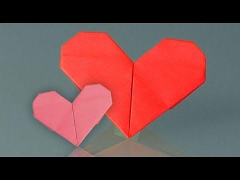 Um coração de papel, como fazer origami