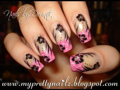 Easy Stamped Patterned French Tips and Hibiscus Flowers Nail Tutorial