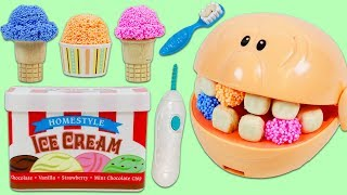 Feeding Mr. Play Doh Head Play Foam Ice Cream and Visiting the Dentist!
