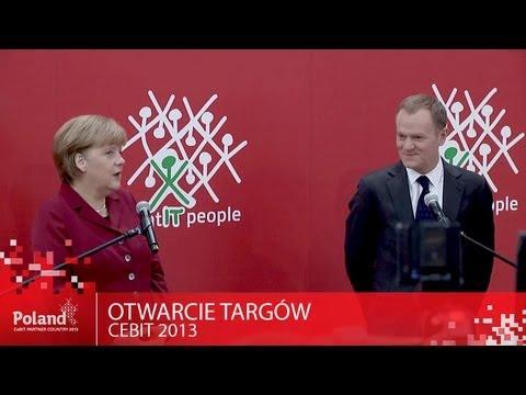 Otwarcie targów CeBIT 2013 - Donald Tusk i Angela Merkel na Polskim stoisku
