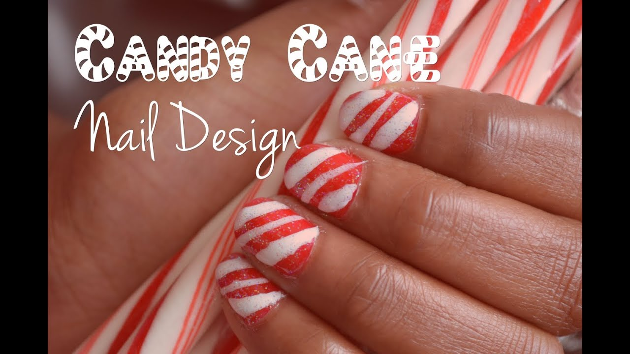 Candy cane nail art for short nails lhdc tv youtube