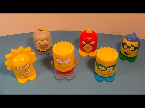 2013 THE SIMPSONS SUPER HEROES SET OF 6 INTERACTIVE BURGER KING KID'S TOY'S VIDEO REVIEW