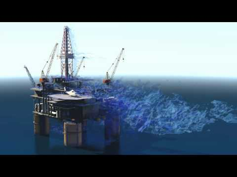 Detached Eddy Simulation (DES) of flow around an Oilrig by TotalSim.