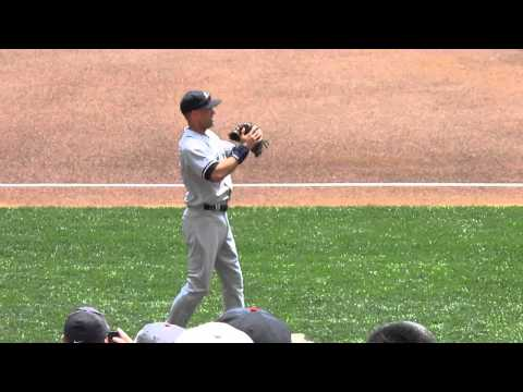 Derek Jeter Throwing Prior To Game At Target Field -- iFolloSports.com