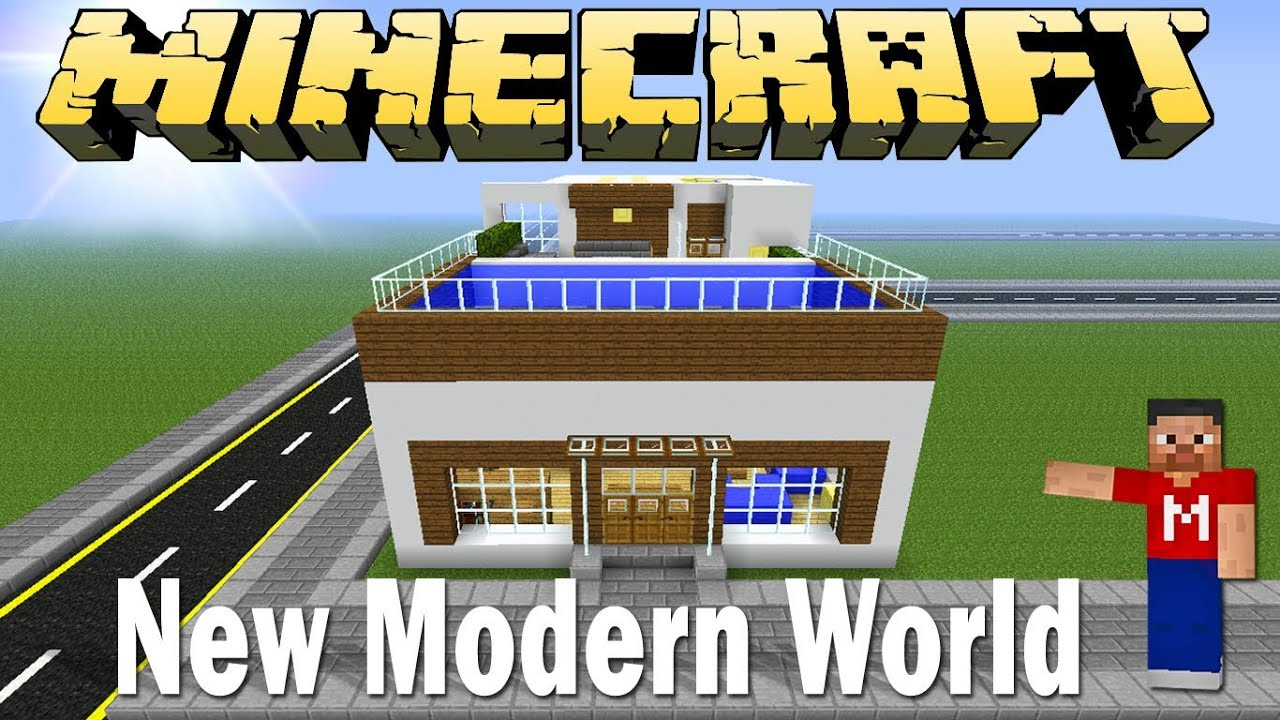 Minecraft Modern House Rooftop Swimming Pool Modern World E 5 Youtube