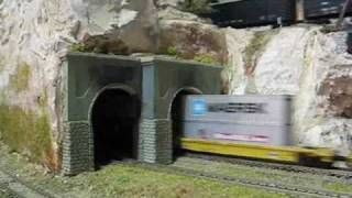 Some Intermodal Action Ron Hickey's N-scale Train Layout