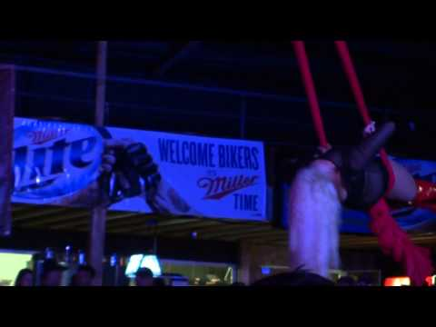Flaunt girl performs on the Ribbons, Sturgis 2013