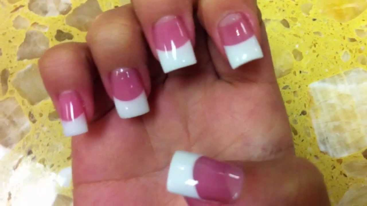 Professional Pink and White Acrylic - YouTube