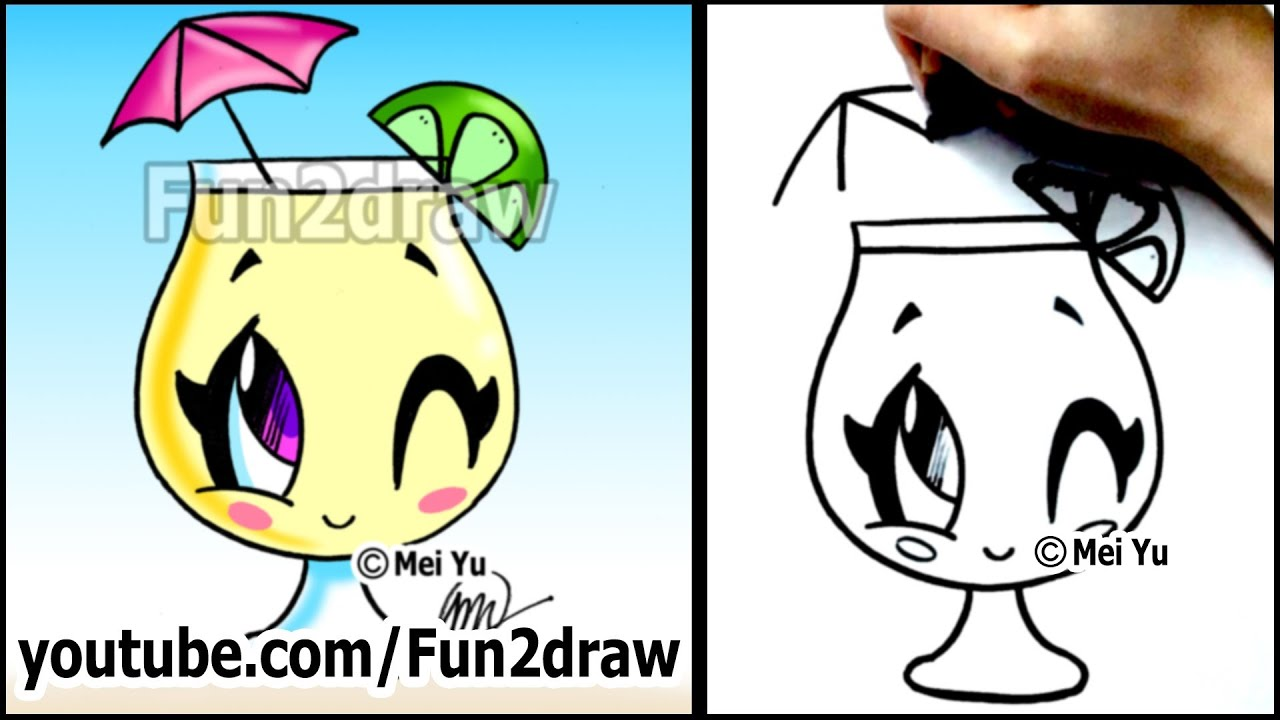 cartoon drawing lessons how to draw a summer drink