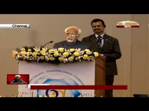 Shri M Hamid Ansari's inaugural speech on the Diamond Jubilee Celebrations of New College, Chennai