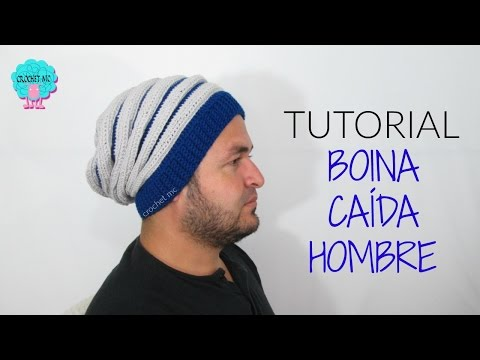 Boina caída hombre a crochet / tutorial