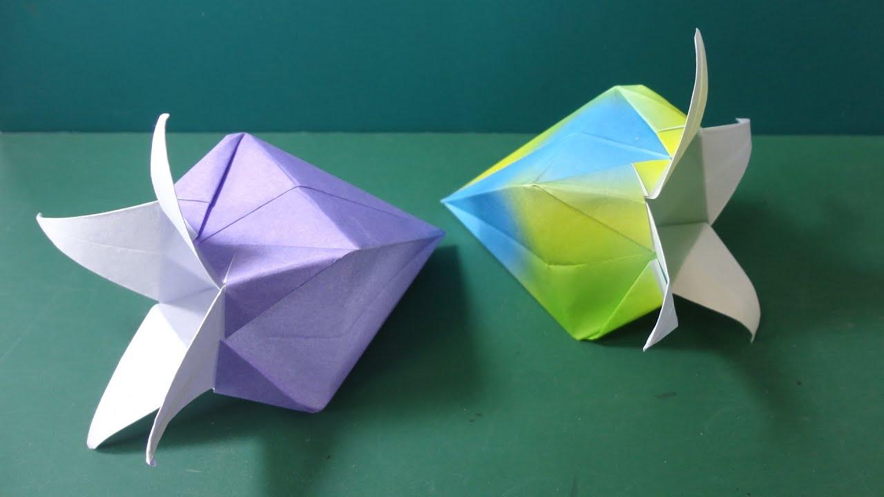 すべての折り紙 折り紙 蓮の花 折り方 : の折り紙「ベルフラワー」折り ...