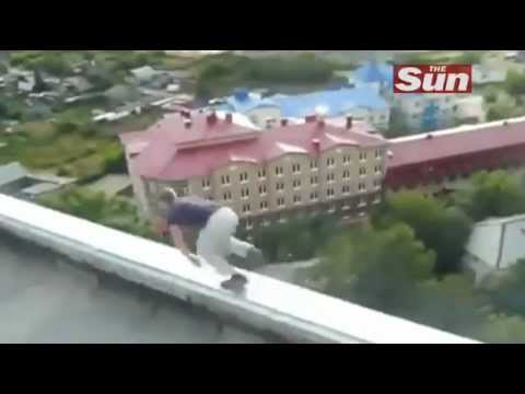 Parkour on top of apartment block