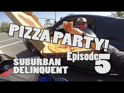 MotoVlog 5, Motorcycle Pizza Delivery, Chick Hanging out of Car, California.