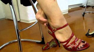 Red Strapy Sandals Dangling