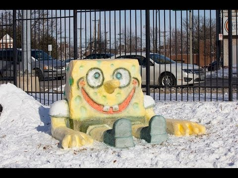SpongeBob SquarePants Snow Sculpture at SSM Cardinal Glennon Children's Medical Center