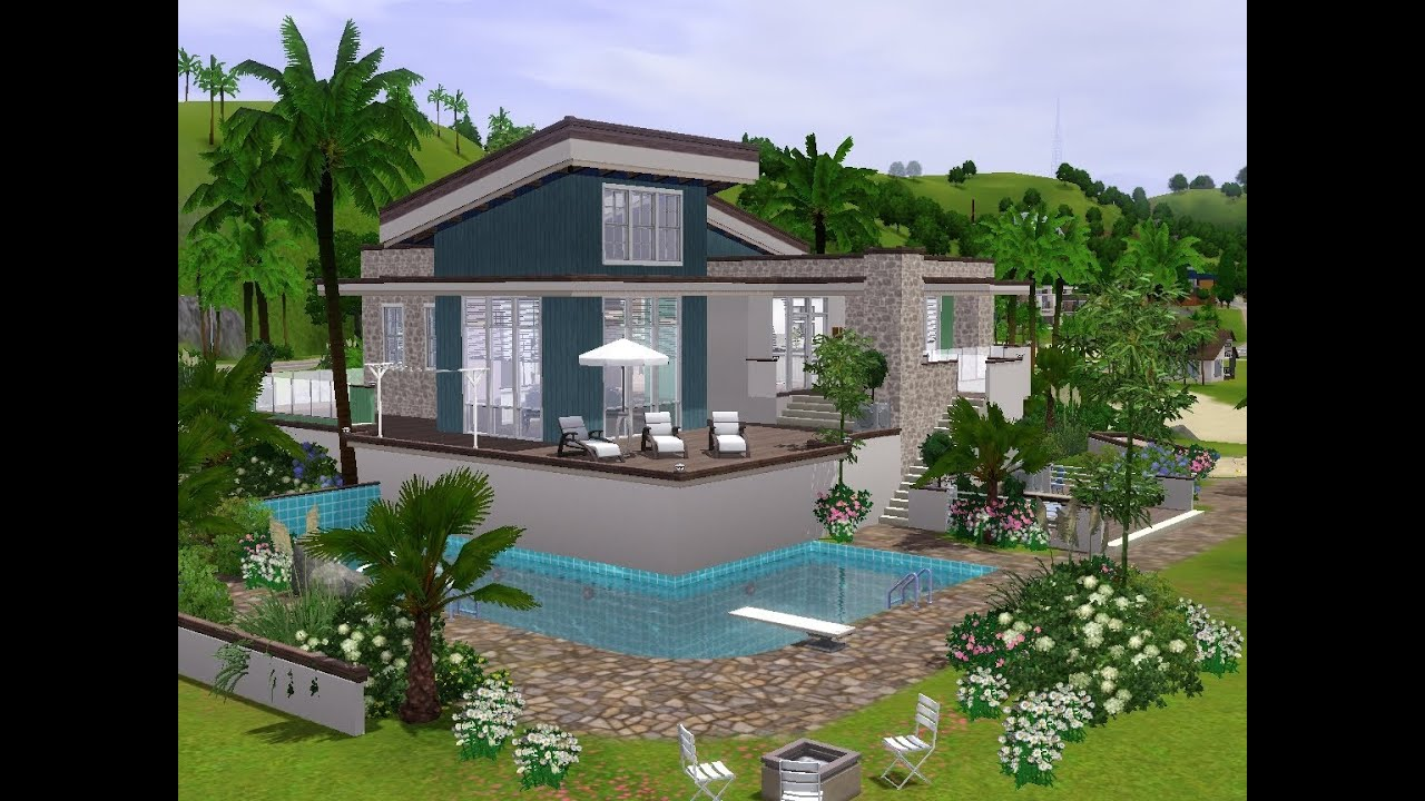 The sims 3 building a modern holiday house youtube for Modern house sims 3