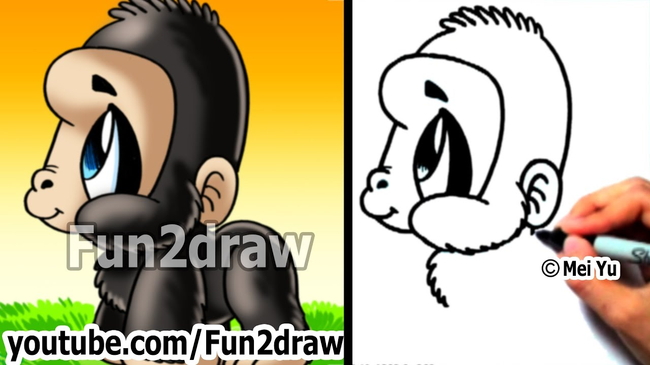 easy drawing lessons how to draw monkeys apes