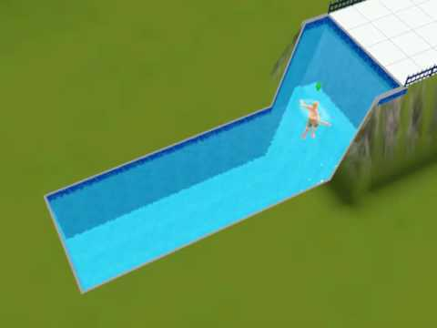 Sim 3 waterfall swimming pool part 1 youtube for Pool design sims 3