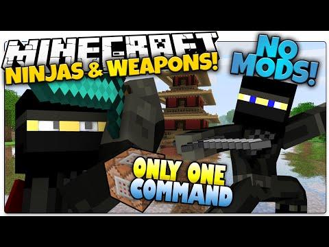 NINJAS IN MINECRAFT | Smoke Bombs, Shuriken & More | Only One Command (Minecraft Vanilla Mod)