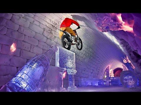 Moto Trials Riding Through Giant Igloo - Tundra Trial
