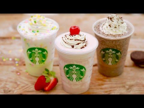 Starbucks FRAPPUCCINOS SECRET MENU (Birthday Cake, Oreo & Banana Split) Gemma's Bigger Bolder Baking