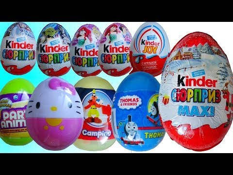 10 surprise eggs! HELLO KITTY Party Animals THOMAS Mickey Mouse! Disney Princess Kinder surprise!