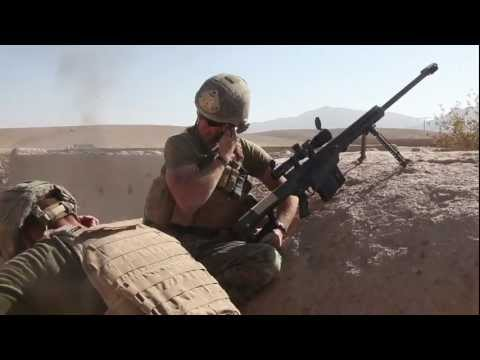 Marine sniper engages Taliban with Barrett M107 .50 cal rifle