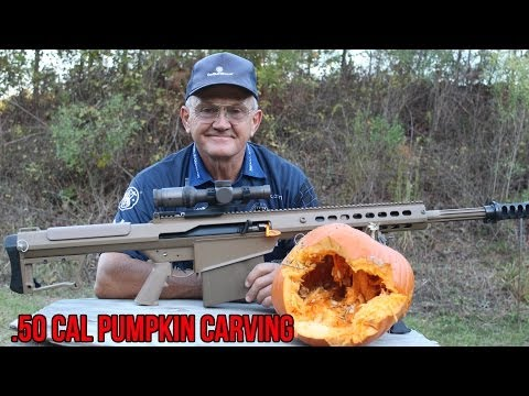 Pumpkin carving with a Barrett 50 cal & explosives! Champion shooter Jerry Miculek.
