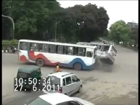 Caught on CCTV - Bus Crash Footage (Crazy tuk-tuk survives!!)