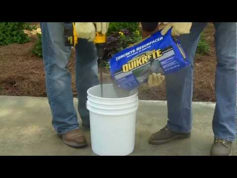 How to use quikrete concrete resurfacer the home depot for Self leveling floor resurfacer