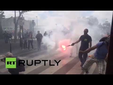 Eiffel Tower battle: Rail service workers clash with police in Paris